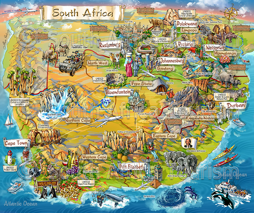 south africa map illustration